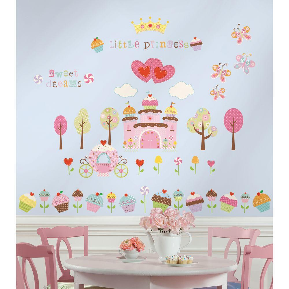 10 in. x 18 in. Happi Cupcake Land 56-Piece Peel and