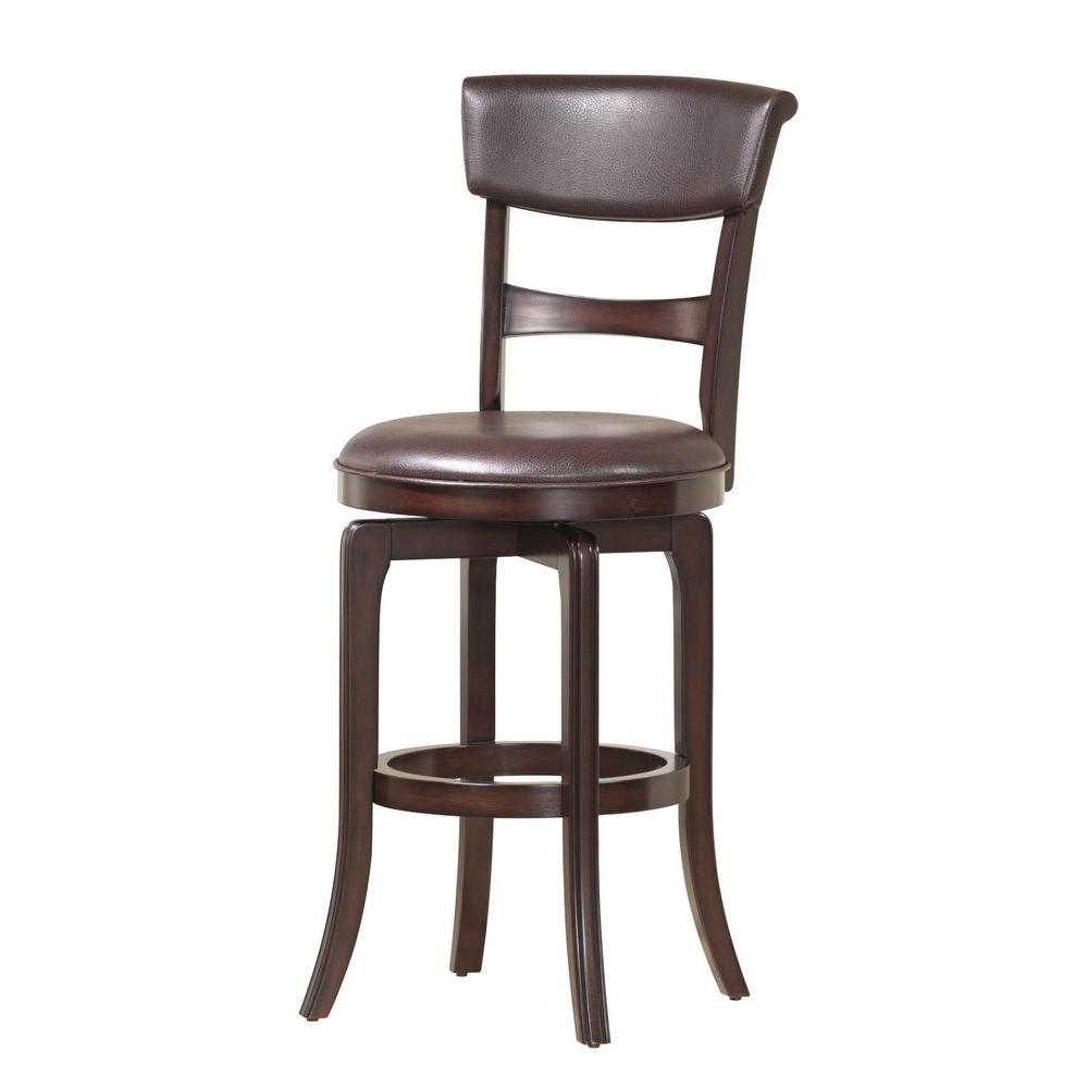 Hillsdale Furniture Cordova 29.5in. Swivel Bar Stool with a Dark Brown Bonded Leather Seat in a Deep Cherry Finish