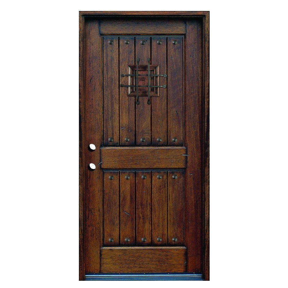 36 in x 80 in rustic mahogany type stained distressed solid wood speakeasy prehung front door for Solid wood interior doors home depot