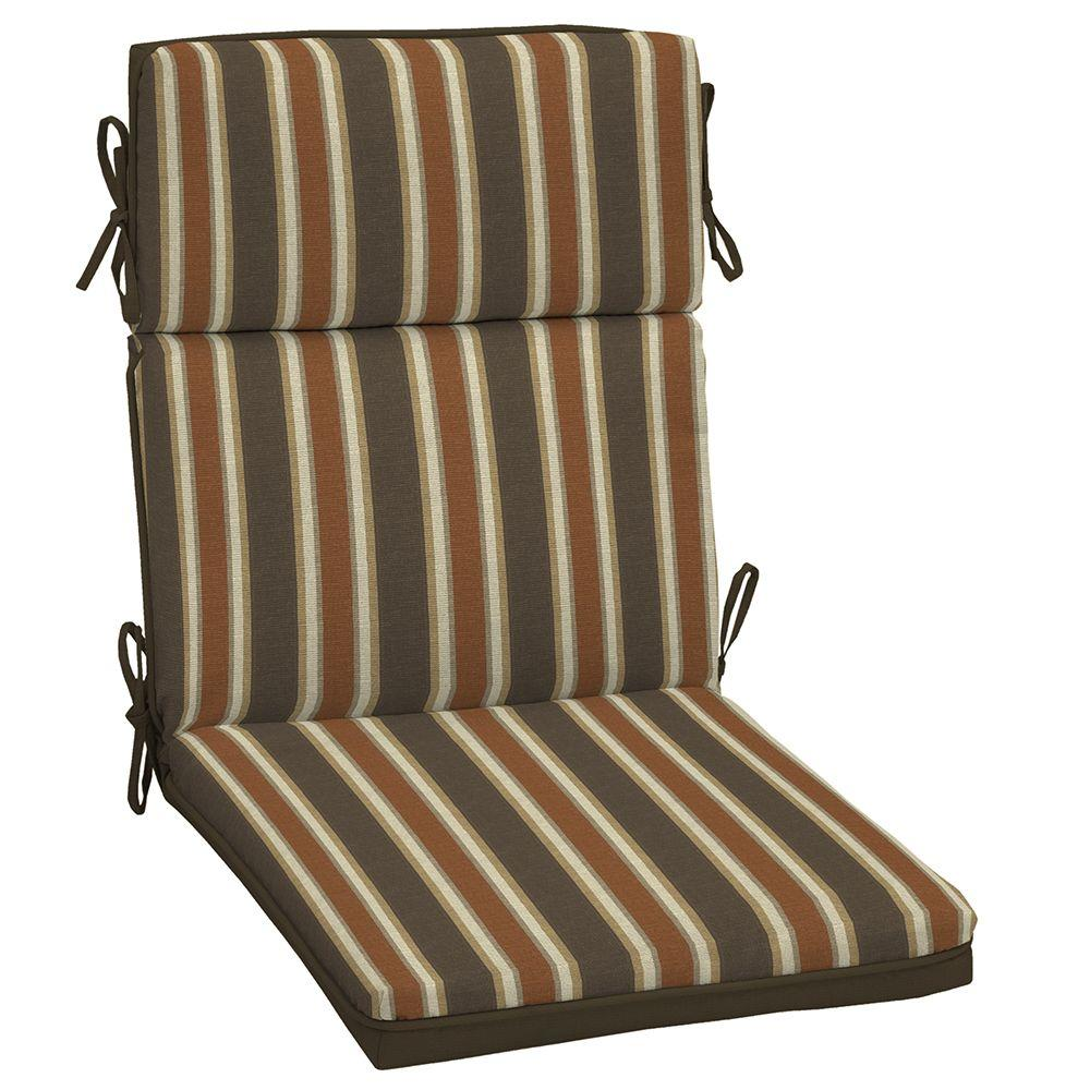 Hampton Bay Rev Scottsdale Stripe Welted Outdoor Dining Chair Cushion FD