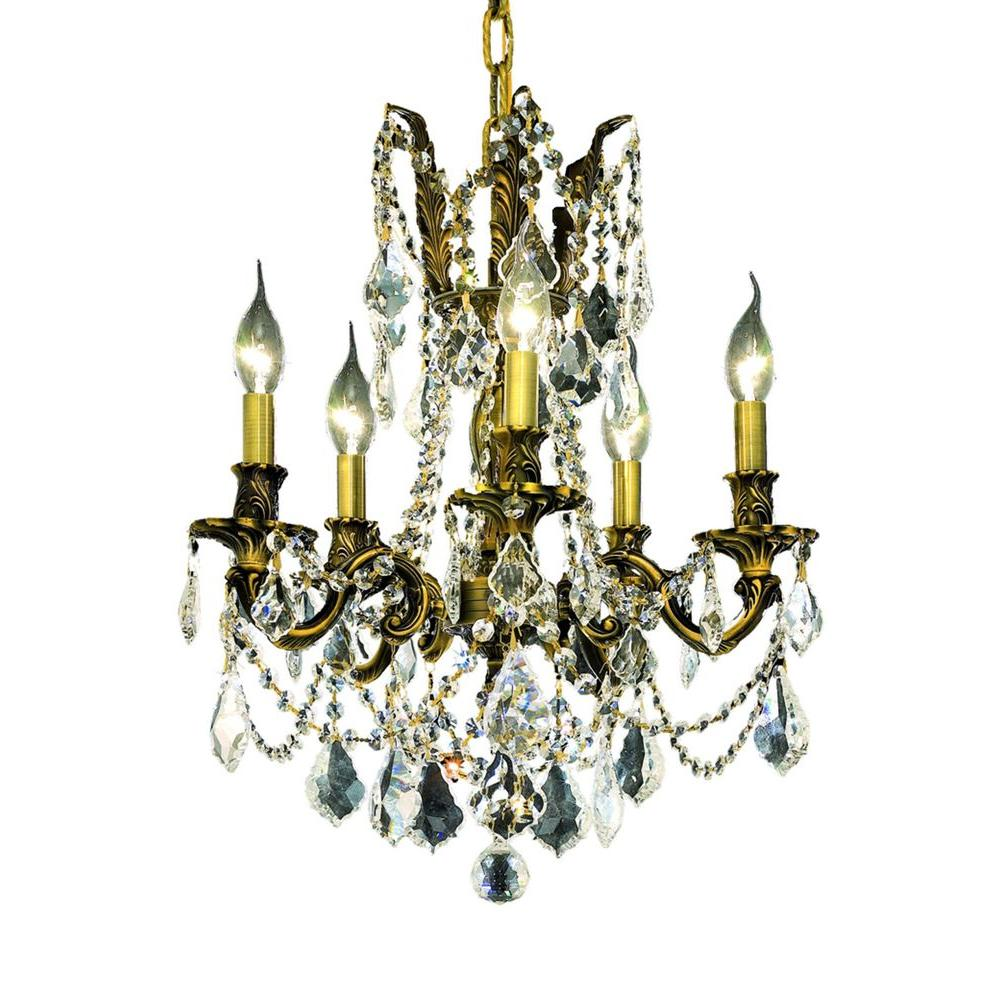 Elegant Lighting 5-Light Antique Bronze Chandelier with Clear Crystal