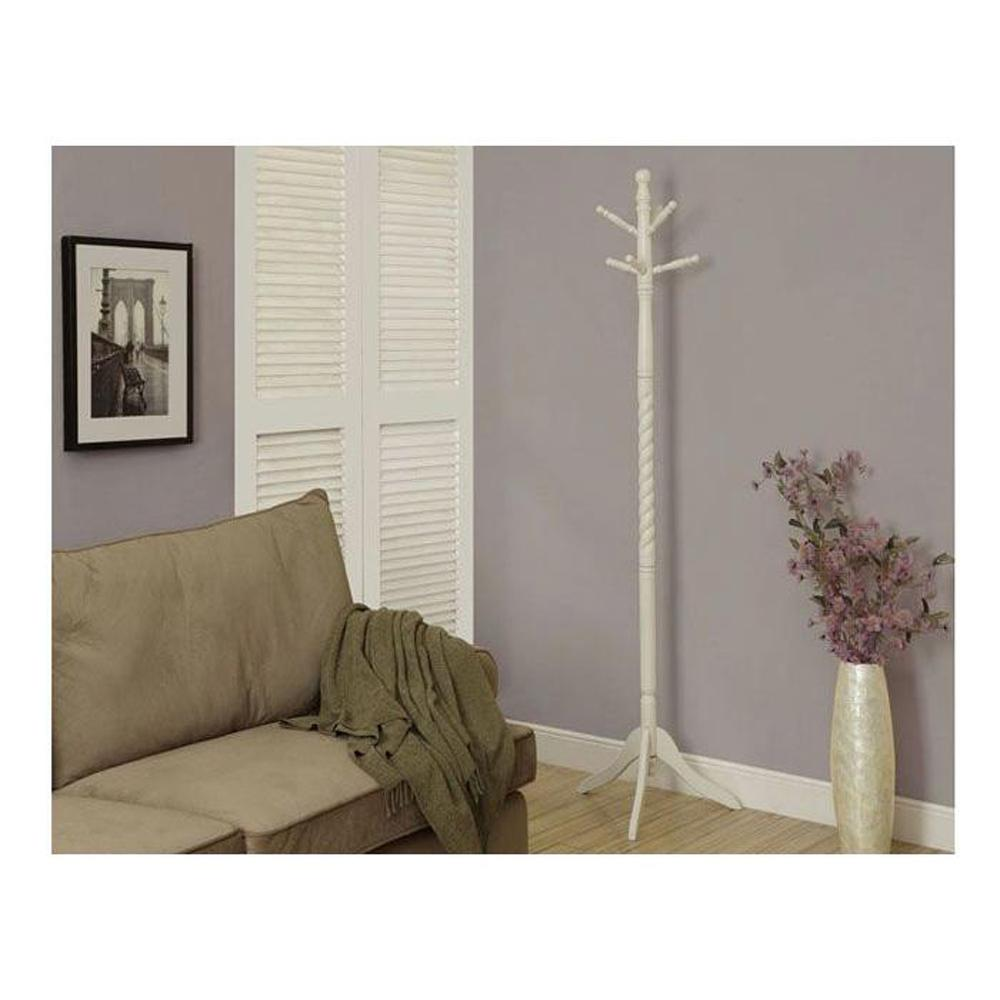 White 6-Hook Coat Rack
