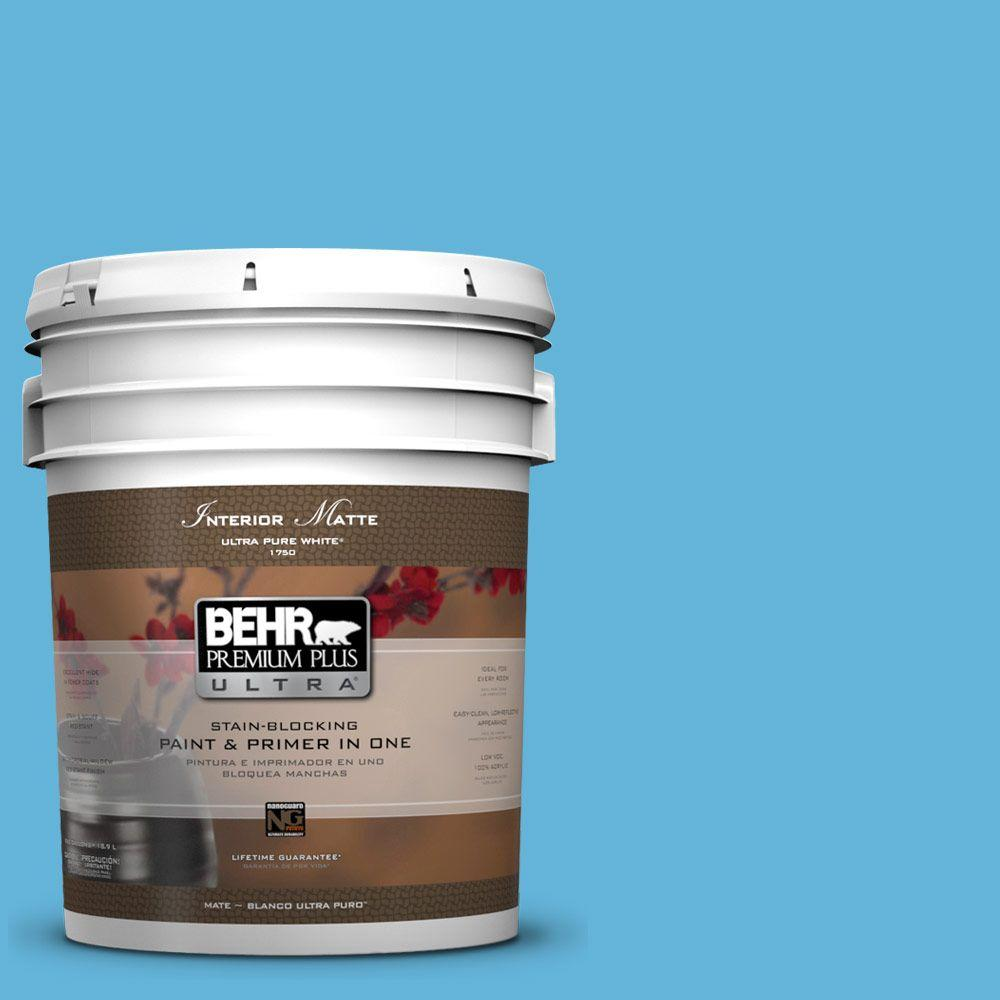 Interior Paint, Exterior Paint & Paint Samples: BEHR Premium Plus Ultra Paint 5-gal. #540B-5 Riviera Blue Flat/Matte Interior Paint 175405