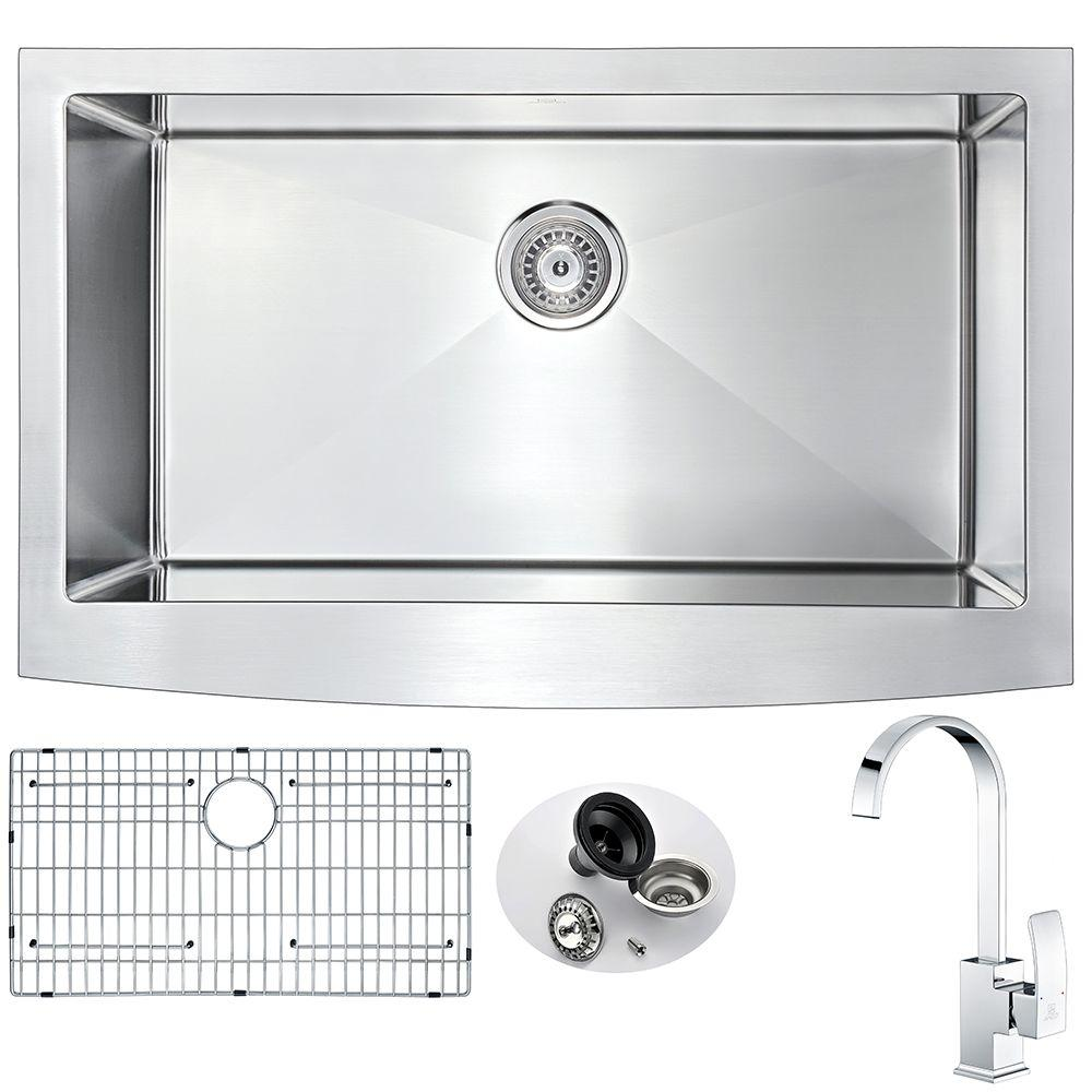 ELYSIAN Farmhouse Stainless Steel 32 in. Single Basin Kitchen Sink and
