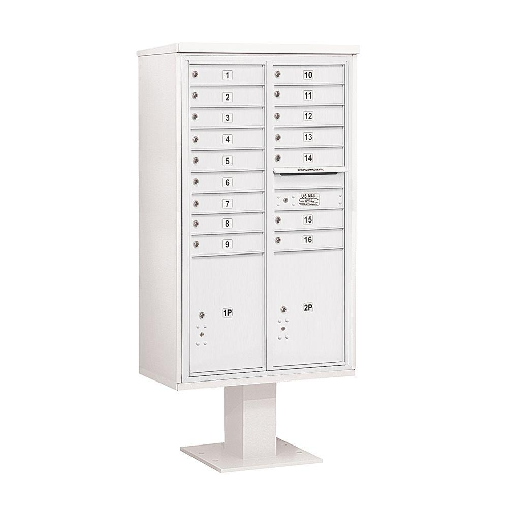3400 Series 70-1/4 in. 15 Door High Unit White 4C Pedestal Mailbox with 16 MB1 Doors/2 PL6