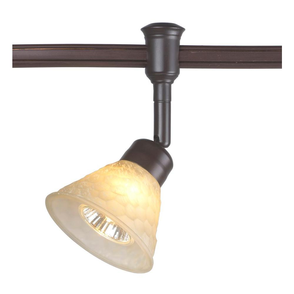 1-Light Bronze Flexible Track Lighting Head with Hammered Glass Shade