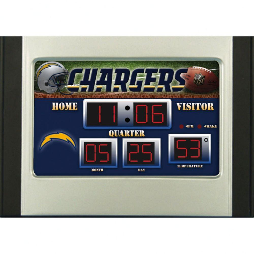 null San Diego Chargers 6.5 in. x 9 in. Scoreboard Alarm Clock with Temperature