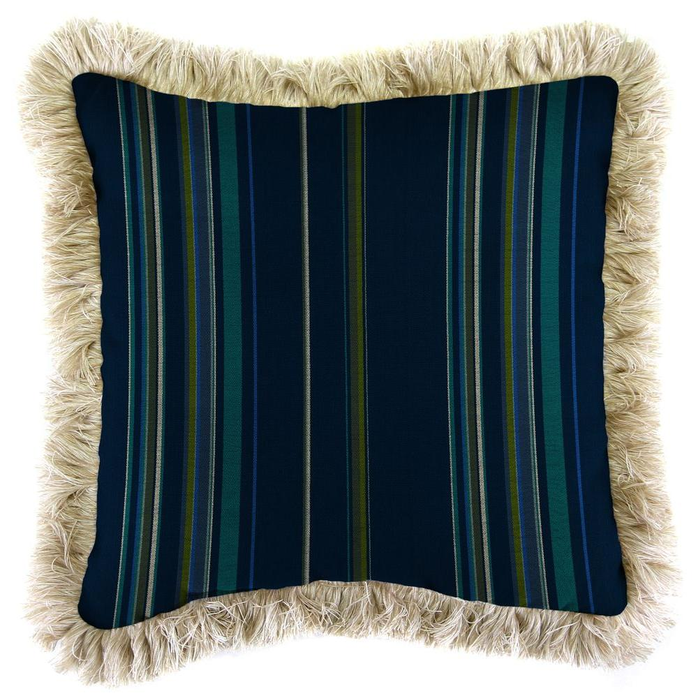 Sunbrella Stanton Lagoon Square Outdoor Throw Pillow with Canvas Fringe
