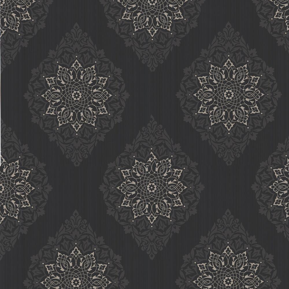Graham & Brown 56 sq. ft. Tattoo Gray Wallpaper-DISCONTINUED
