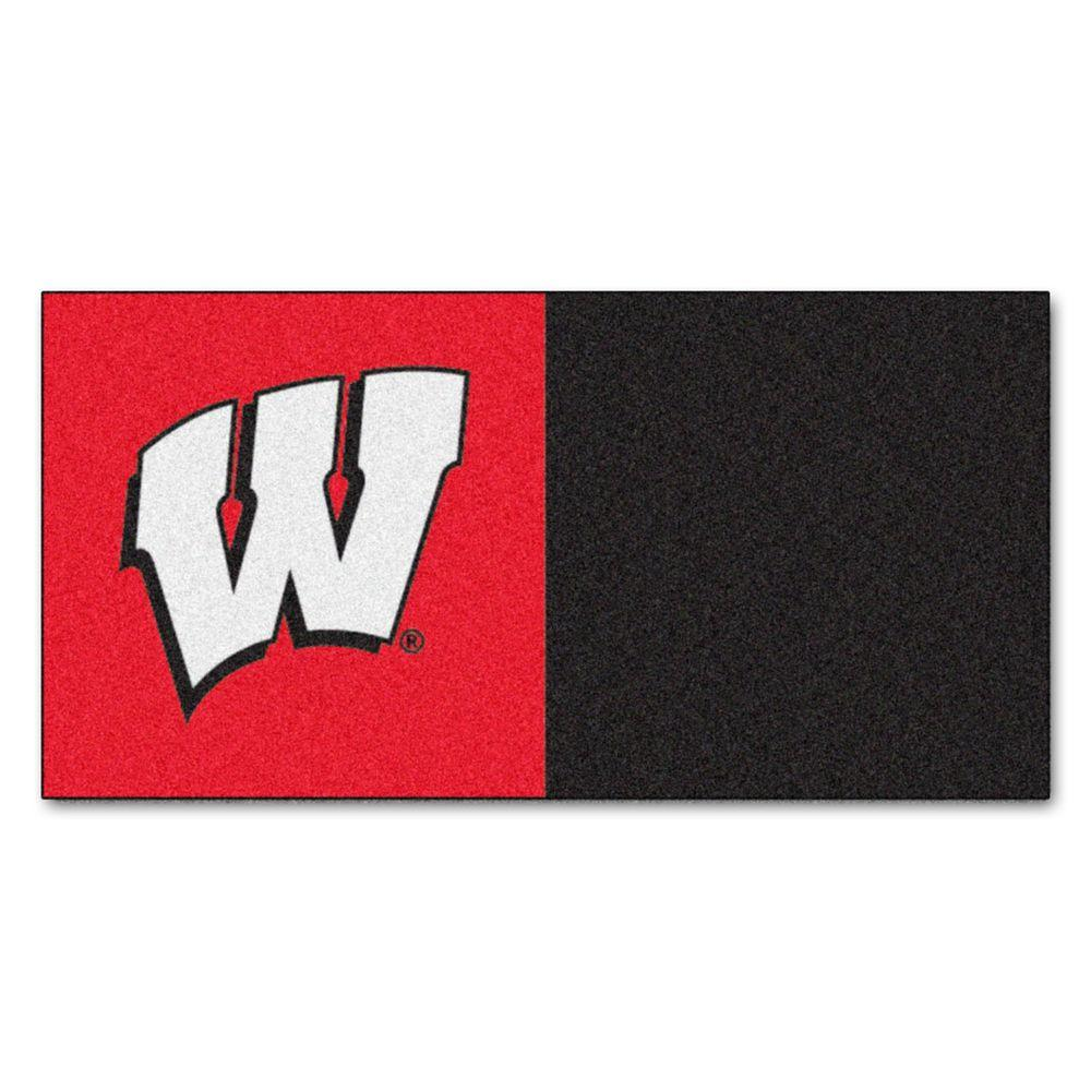 FANMATS NCAA - University of Wisconsin Black and Red Nylon 18 in. x 18 in. Carpet Tile (20 Tiles/Case)