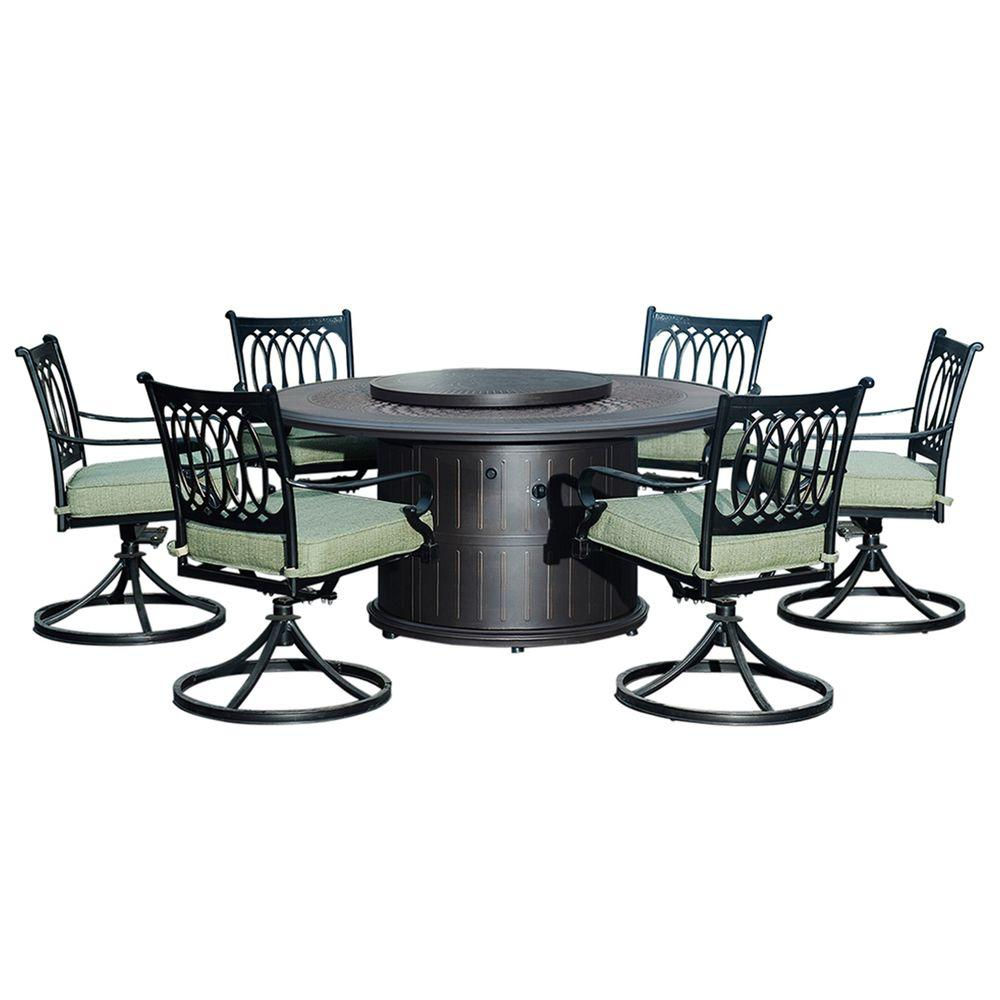 Lark 7-Piece Patio Dining Set with Beige Cushions