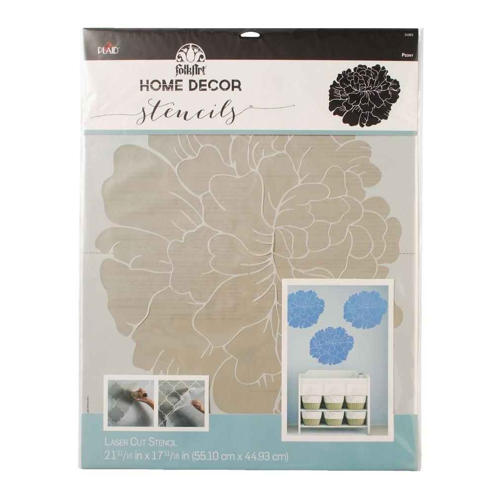 Home Decor Peony Wall Stencil (21.5 in. x 17.5 in.)