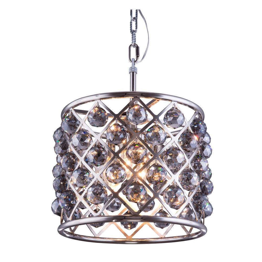 Madison 4-Light Polished Nickel Chandelier with Silver Shade Grey Crystal