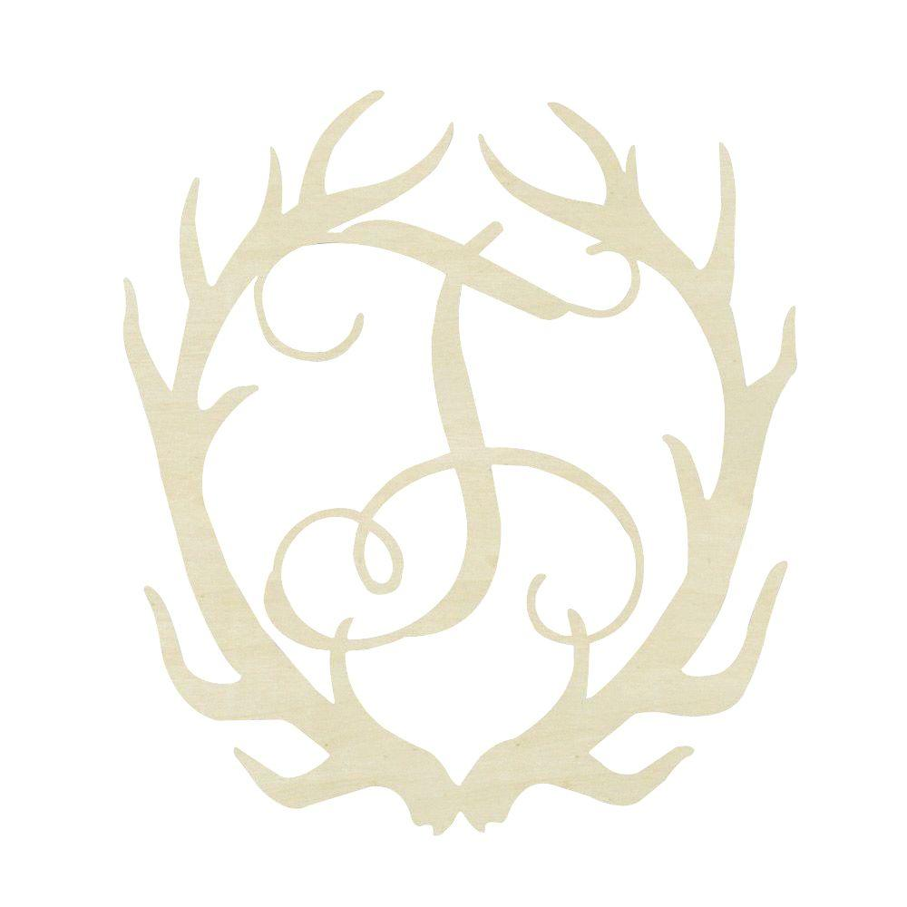 Jeff McWilliams Designs 19.5 in. Unfinished Antler Monogram (T)-300553 - The
