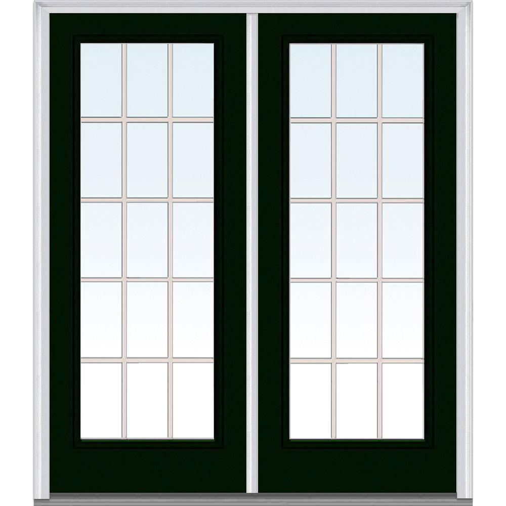 Milliken Millwork 66 in. x 81.75 in. Classic Clear Glass GBG Full Lite Painted Majestic Steel Exterior Double Door, Hunter Green