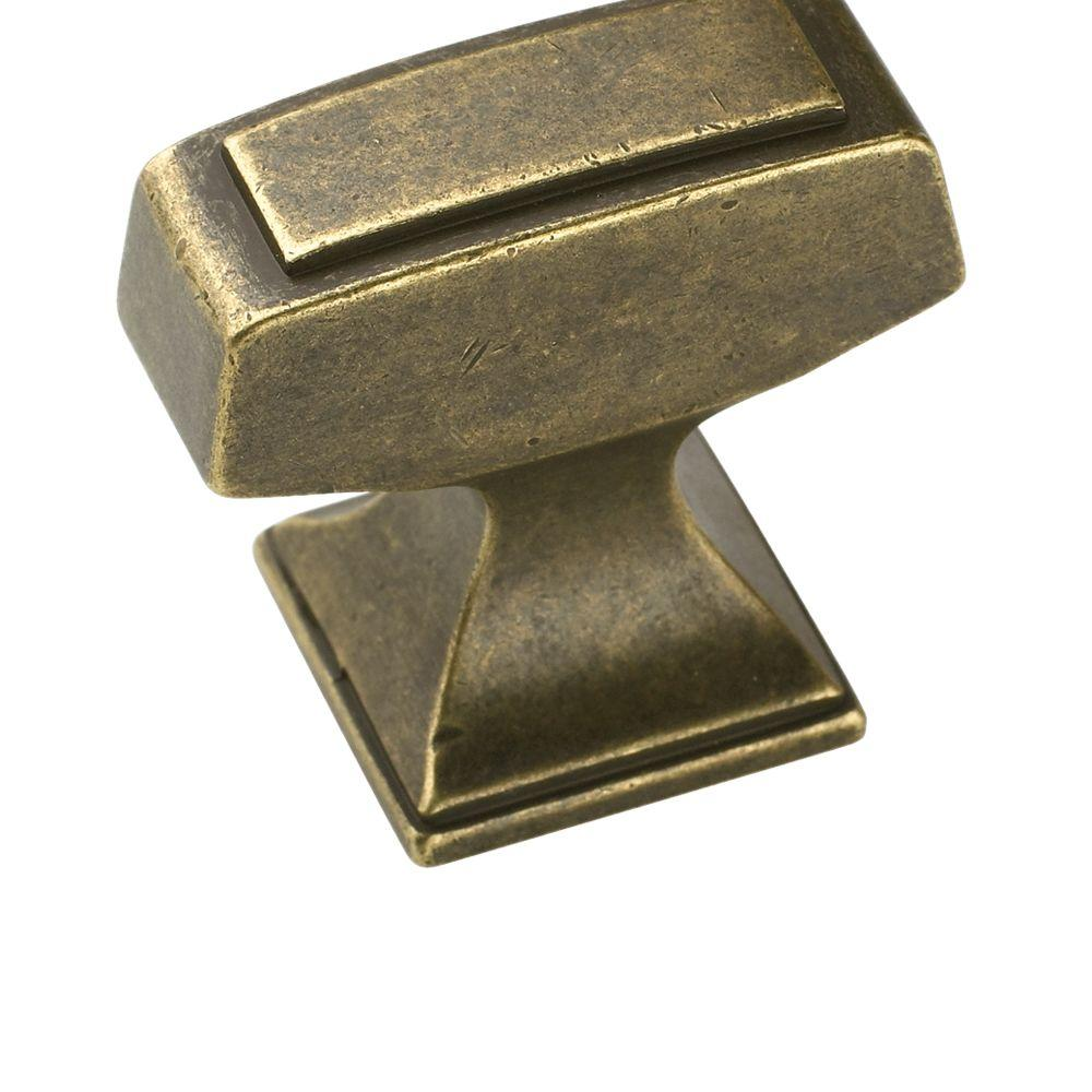 Mulholland 1-1/4 in. Rustic Brass Rectangle Cabinet Knob