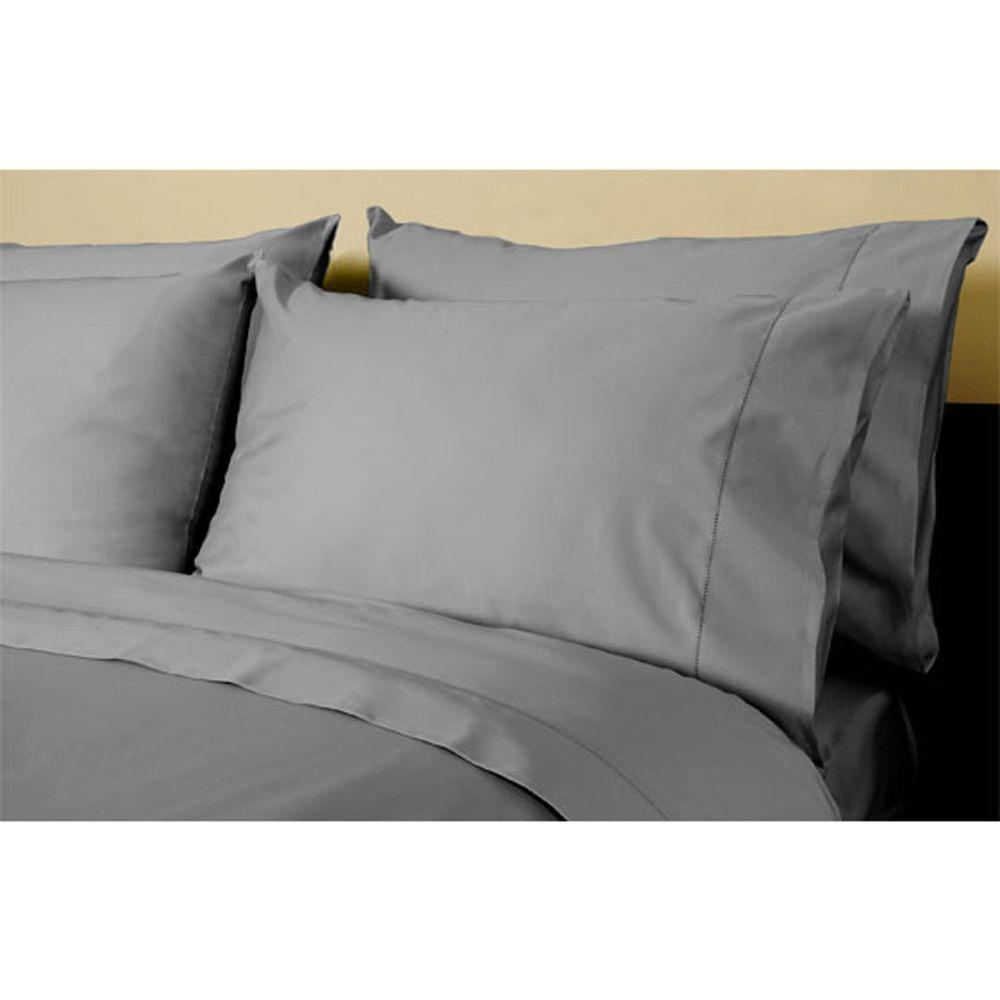 Home Decorators Collection Hemstitched Grant Gray King Pillowcases