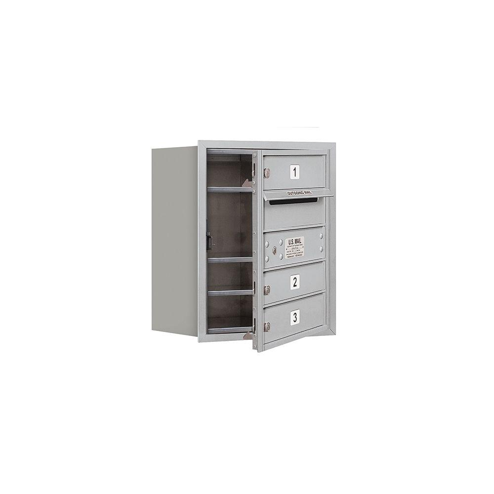 Salsbury Industries 3700 Series 20 in. 5 Door High Unit Aluminum Private Front Loading 4C Horizontal Mailbox with 3 MB1 Doors