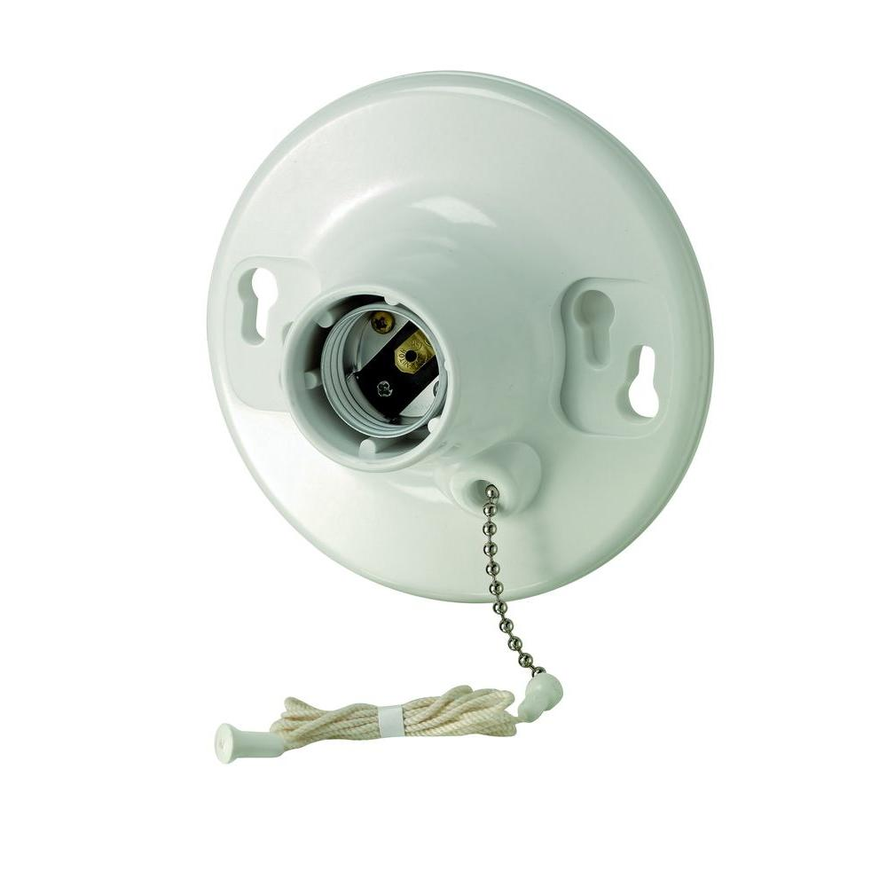 Superb Leviton Porcelain Lamp Holder With Pull Chain And Outlet R60 09726 00C    The Home Depot