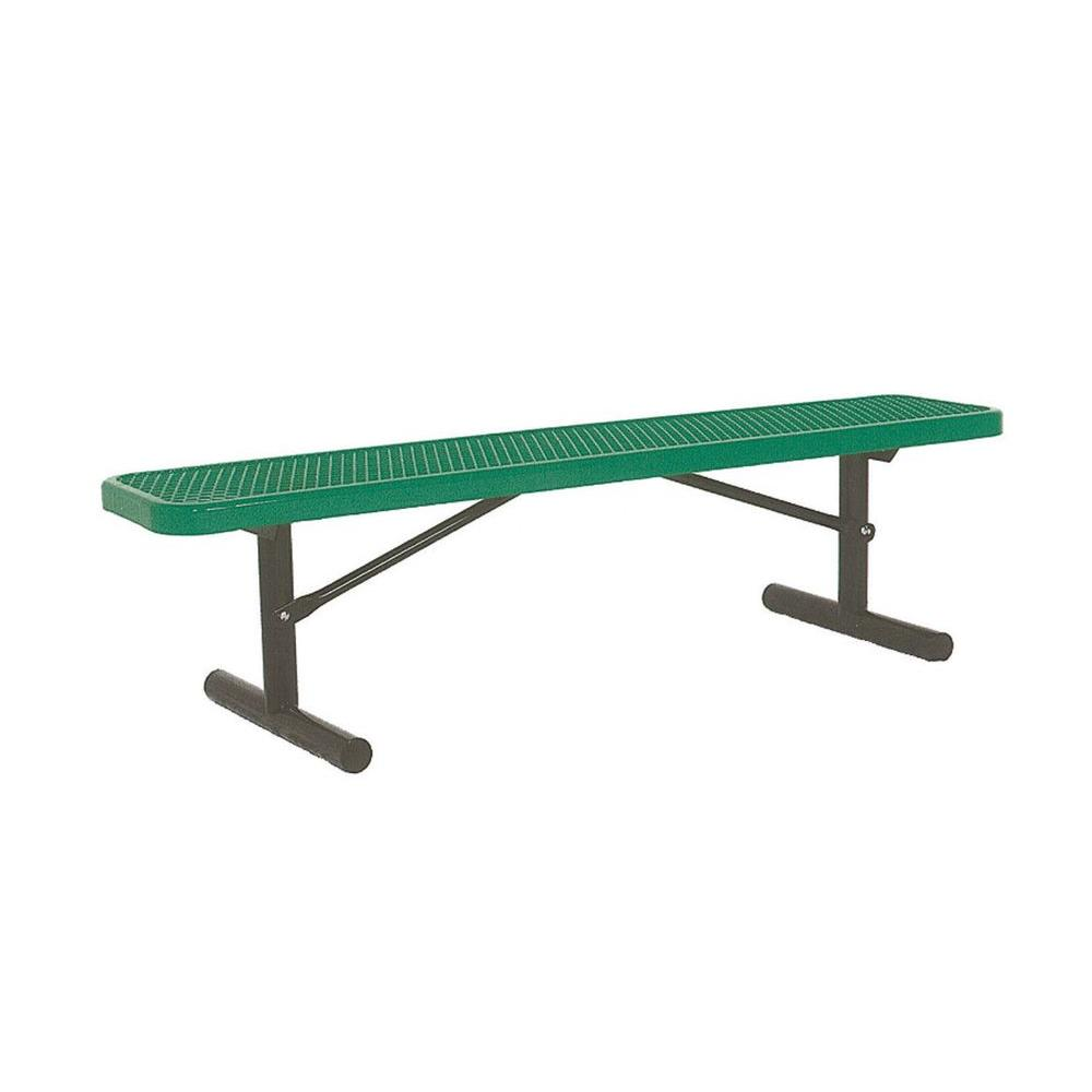 Ultra Play 6 ft. Diamond Green Portable Commercial Park Bench without Back Surface Mount