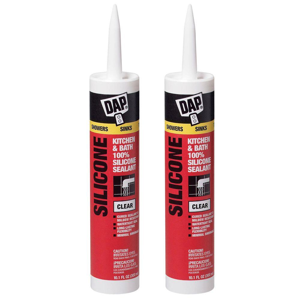 DAP 10.1 oz. Clear 100% Silicone Kitchen and Bath Sealant (2-Pack)-DISCONTINUED