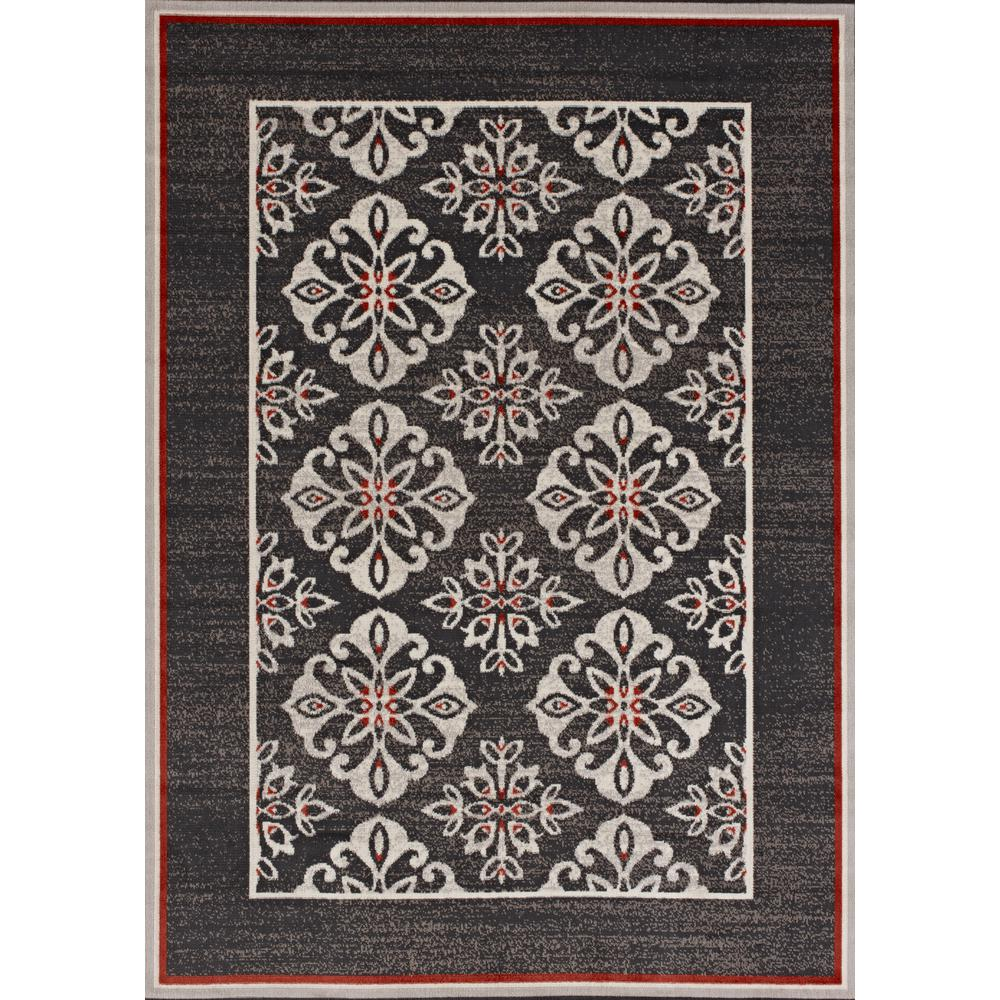 Hampton Bay Medallion Border Tan/Grey 5 Ft. X 7 Ft. Indoor/