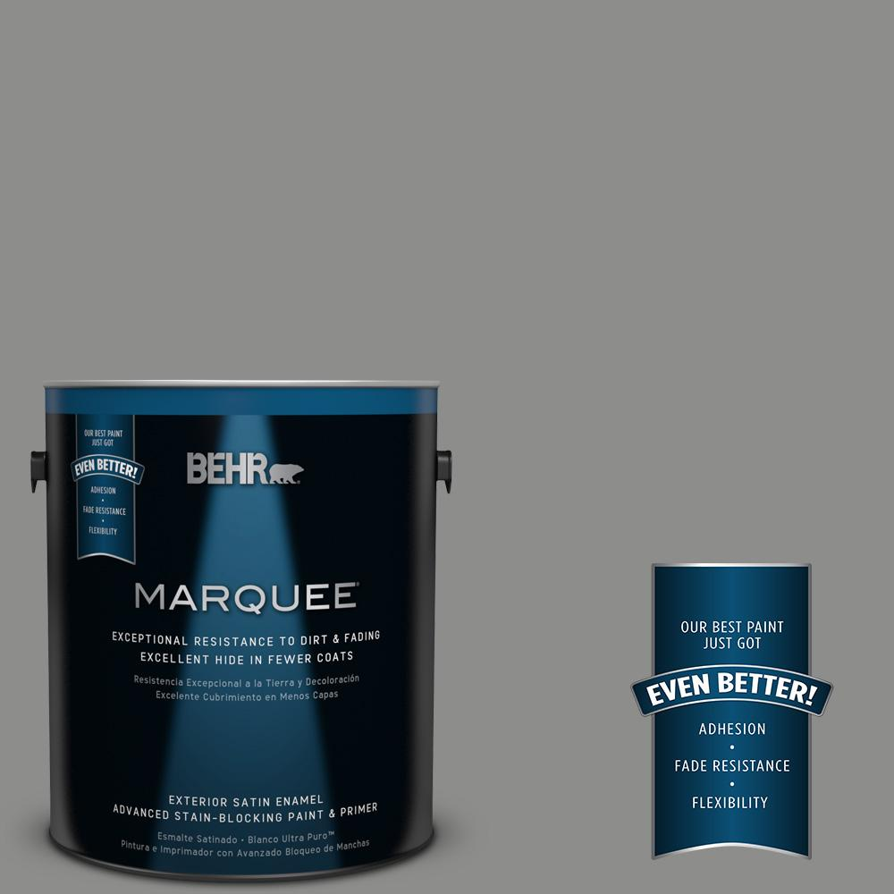 BEHR MARQUEE 1 gal. #PPU24-20 Letter Gray Satin Enamel Exterior Paint-945401