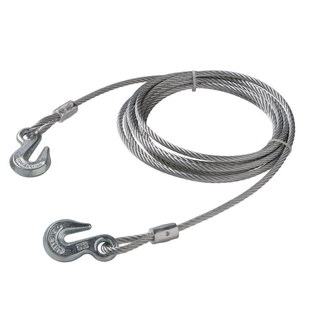 Everbilt 5/16 in. x 20 ft. Galvanized Uncoated Wire Rope with Grab Hooks