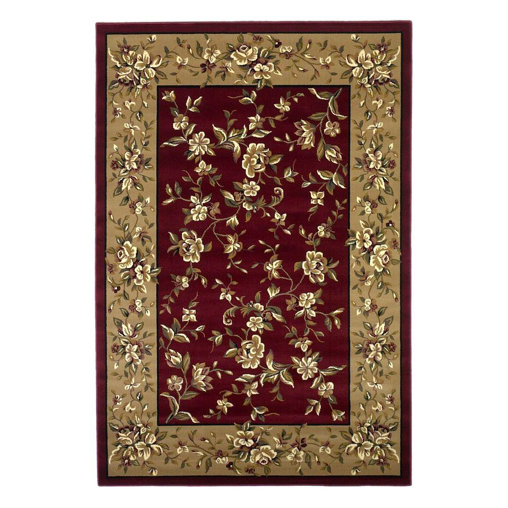 Kas Rugs Traditional Florals Red/Beige 5 ft. 3 in. x 7