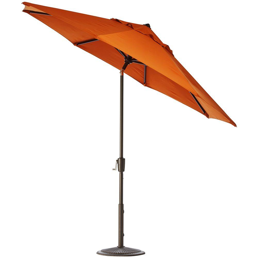 Home Decorators Collection 7.5 ft. Auto-Tilt Patio Umbrella in Tuscan Sunbrella with Bronze Frame