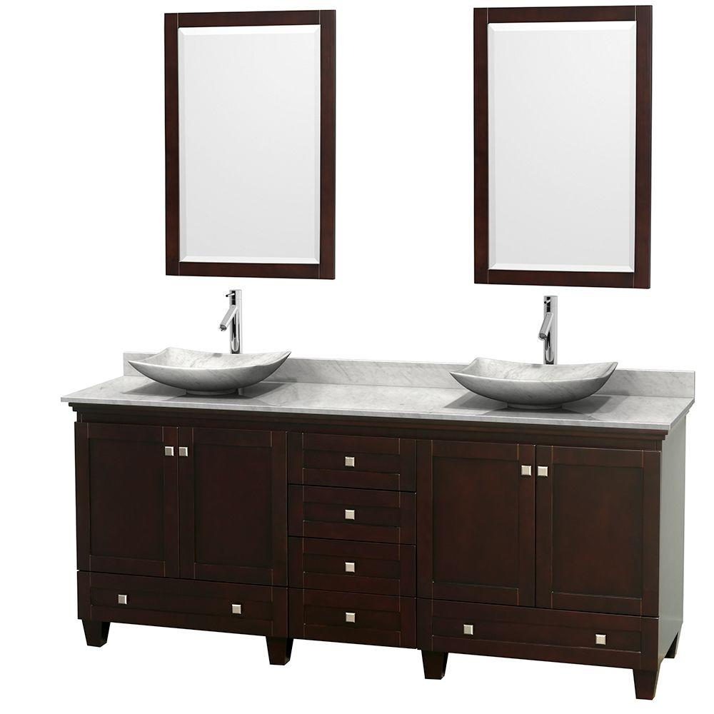 Wyndham Collection Acclaim 80 in. W Double Vanity in Espresso with Marble Vanity Top in Carrara White, White Carrara Sinks and 2 Mirrors
