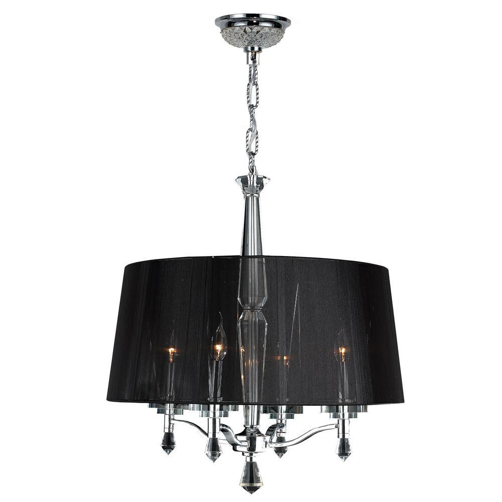 Gatsby 4-Light Polished Chrome Crystal Black Drum Chandelier with Fabric Shade