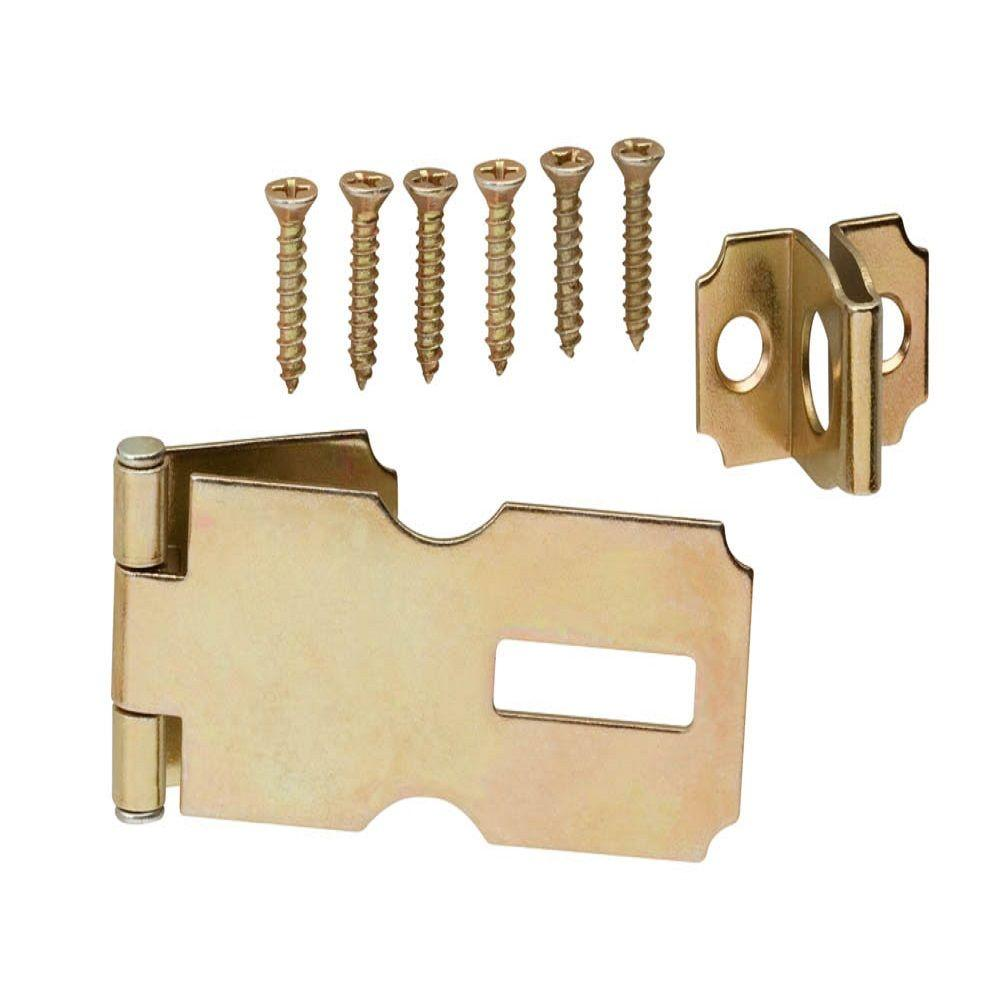 2-1/2 in. Satin Brass Fixed Staple Safety Hasp
