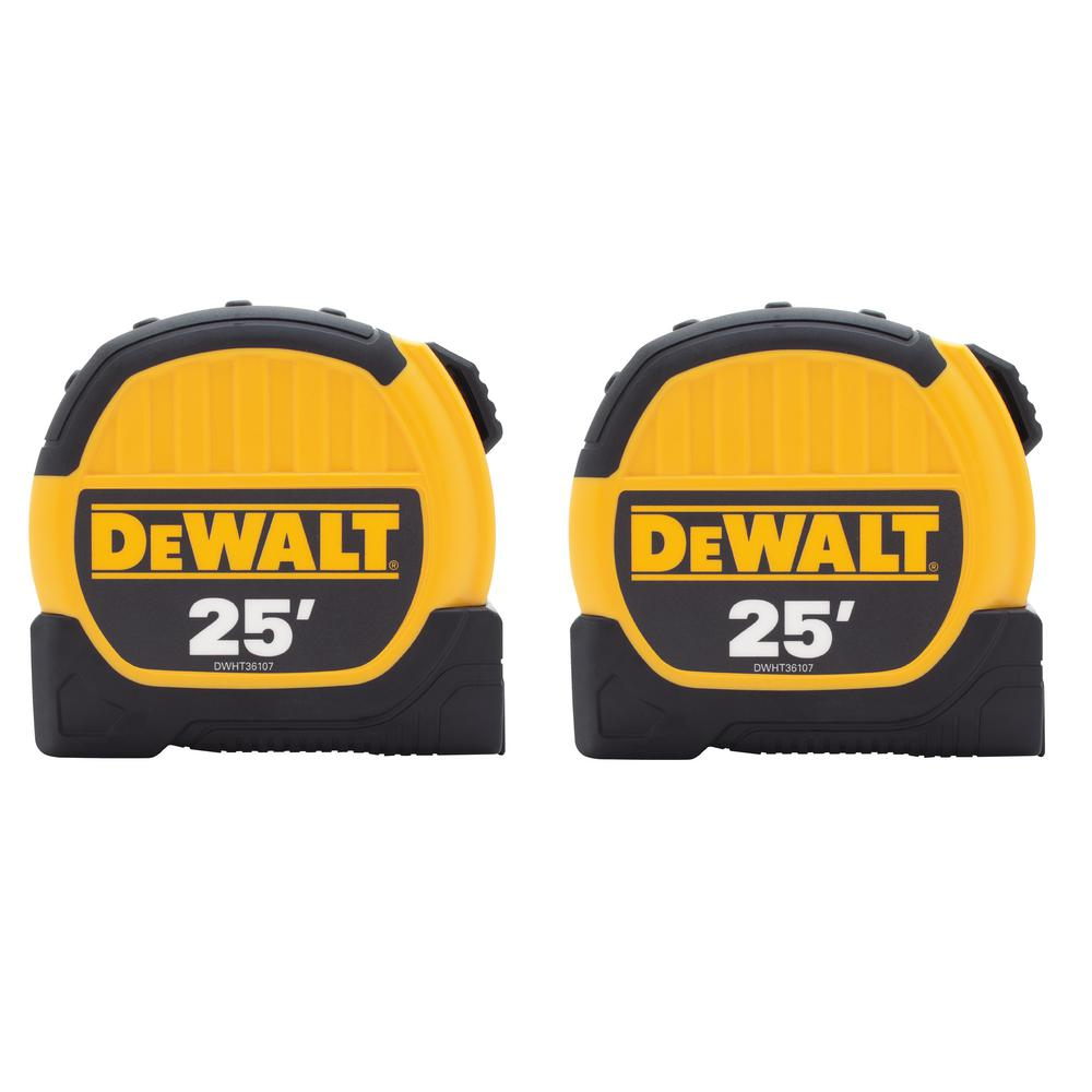 DEWALT 25 ft. Tape Measure (2-Pack)-DWHT79307GC - The Home Depot