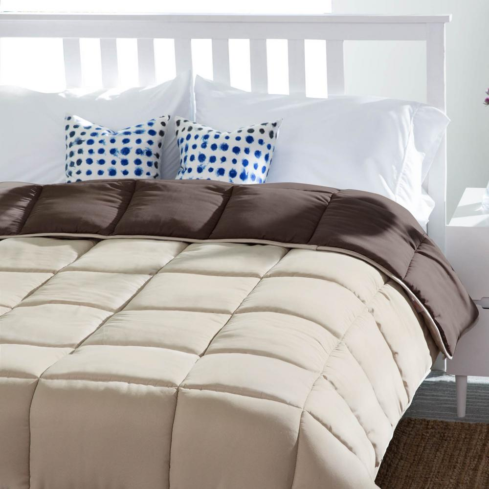 Reversible Sand/Mocha Down Alternative Oversized King Quilted Comforter