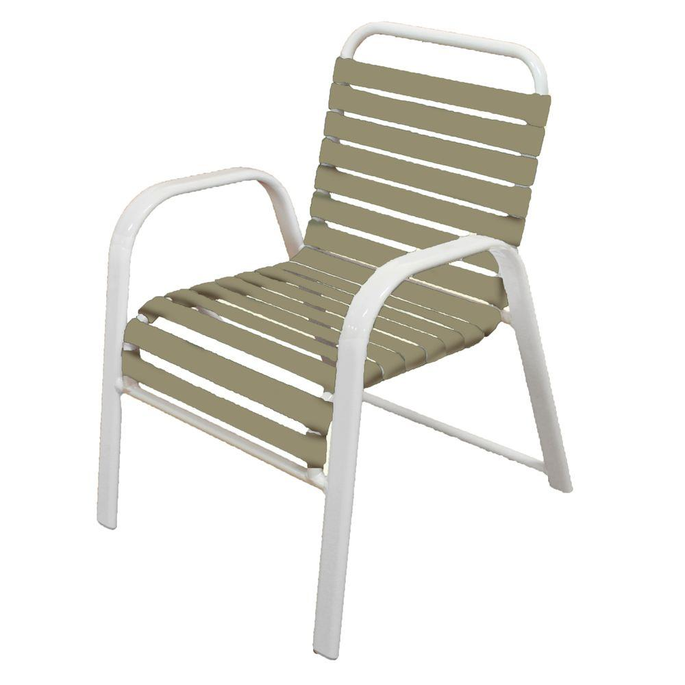 Marco Island White Commercial Grade Aluminum Patio Dining Chair with Putty