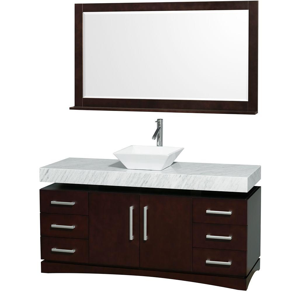 Wyndham Collection Monterey 60 in. Vanity in Espresso with Marble Vanity Top in Carrara White and White Porcelain Sink-DISCONTINUED