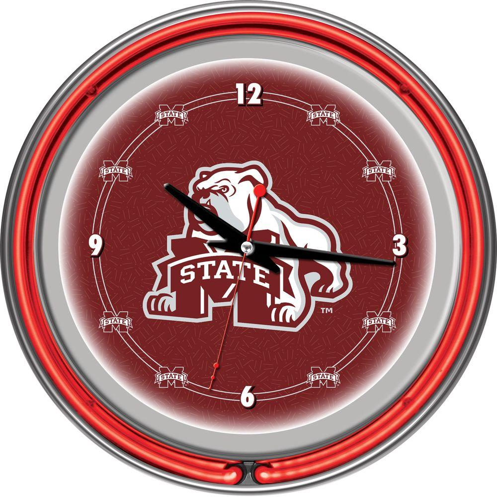 Trademark 14 in. Mississippi State University Neon Wall Clock
