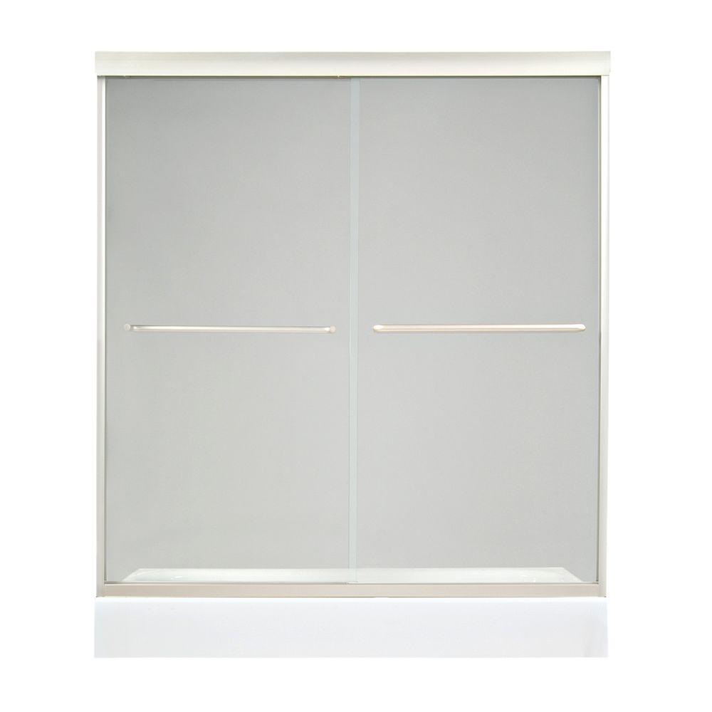 Tonik 59-1/2 in. x 71 in. Frameless 2-Panel Shower Door in Satin Nickel with Clear Glass