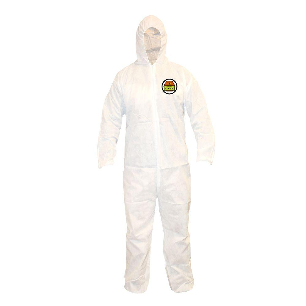 Cordova C-MAX Male Large White Coveralls with Attached Hood-HDSMS300L - The