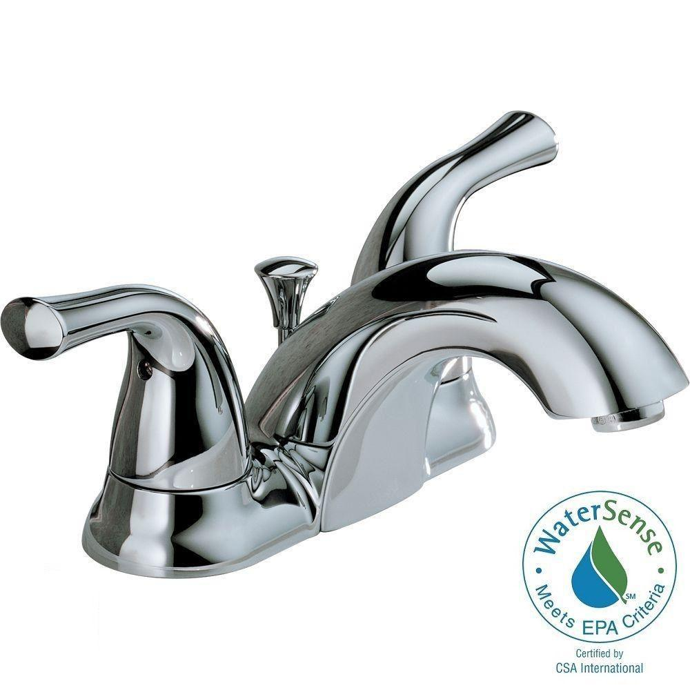 Delta Classic 4 in. Centerset 2-Handle Mid-Arc Bathroom Faucet in Chrome