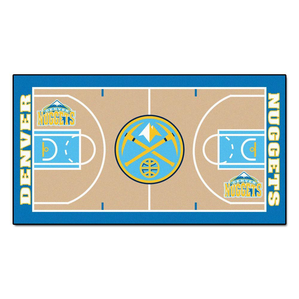 Nuggets X Clippers: FANMATS Denver Nuggets 2 Ft. X 3 Ft. 8 In. NBA Court Rug