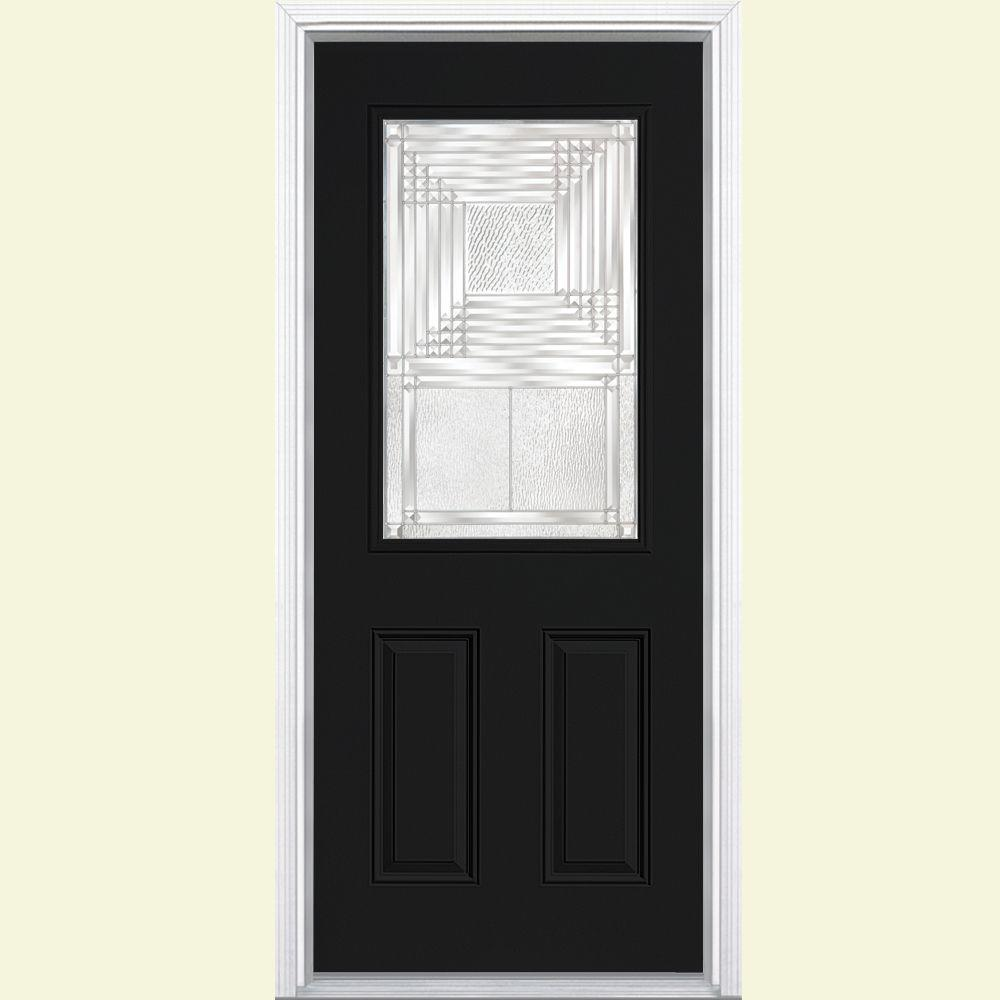 Masonite Rochelle Half Lite Painted Steel Prehung Front Door with Brickmold-DISCONTINUED