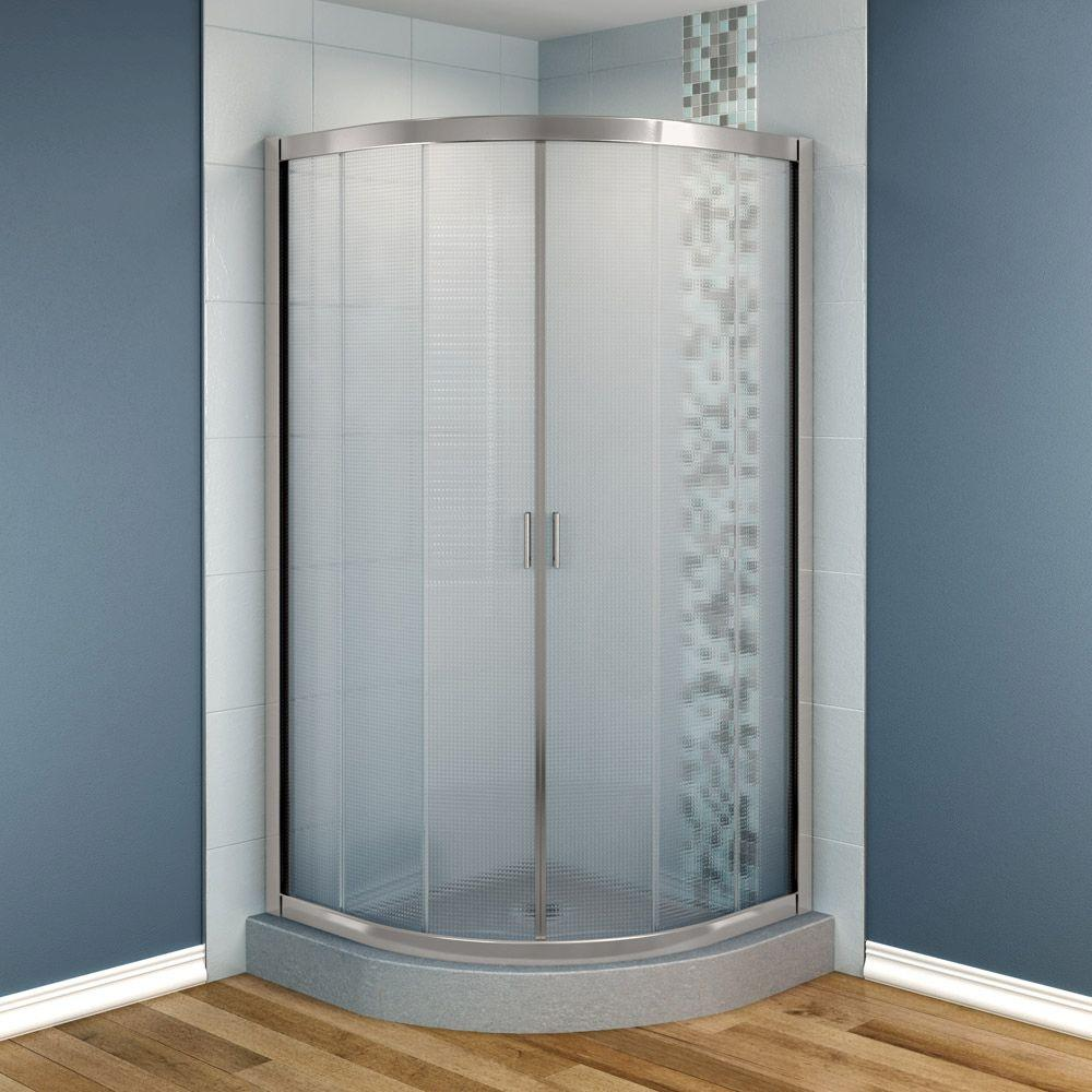 MAAX Intuition 32 in. x 32 in. x 70 in. Neo-Round Frameless Corner Shower Door Mistelite Glass in Nickel Finish-DISCONTINUED