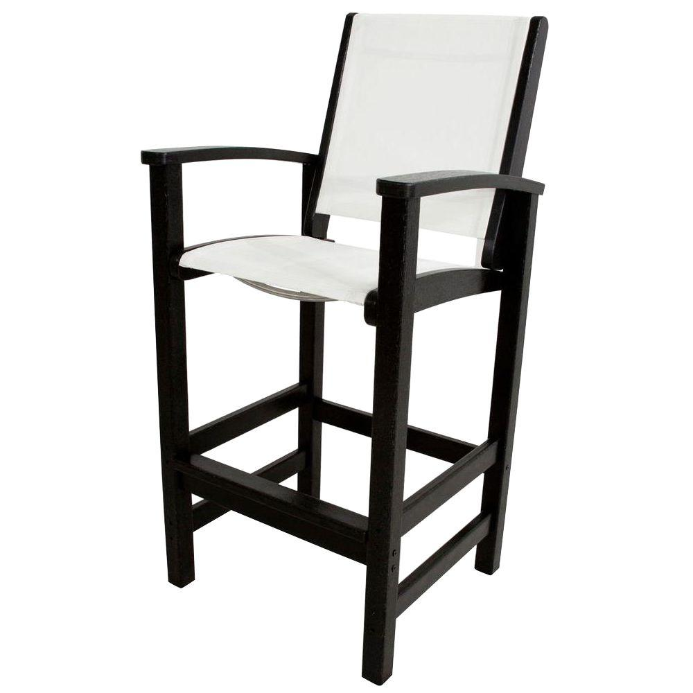 POLYWOOD Coastal Black Patio Bar Chair with White Sling