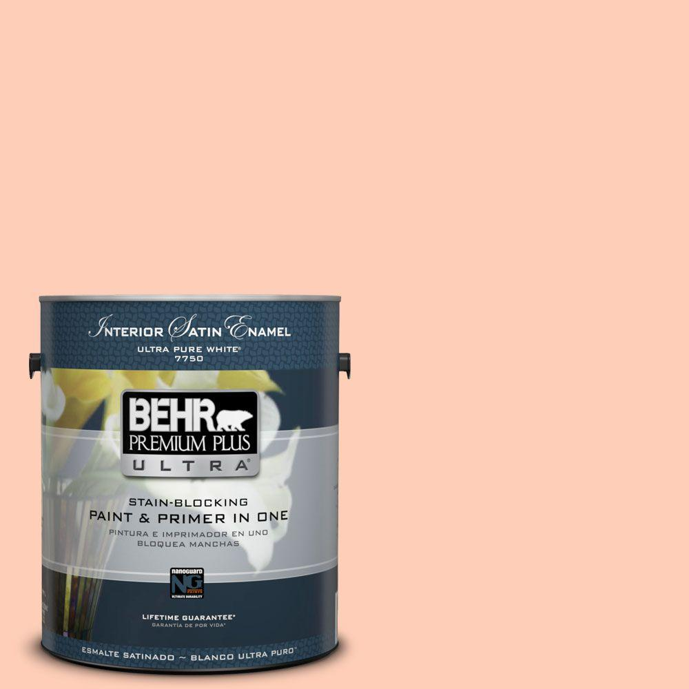 BEHR Premium Plus Ultra 1-gal. #230A-3 Apricot Lily Satin Enamel Interior Paint