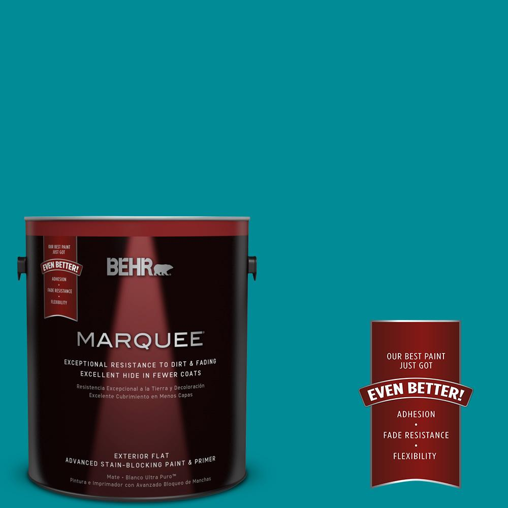 BEHR MARQUEE 1-gal. #510B-7 Empress Teal Flat Exterior Paint-445301 - The