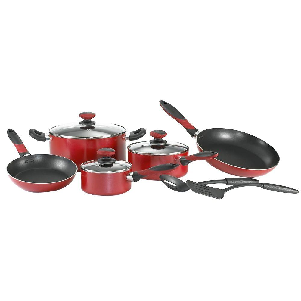 Mirro Get-A-Grip 10-Piece Red Cookware Set with Lids