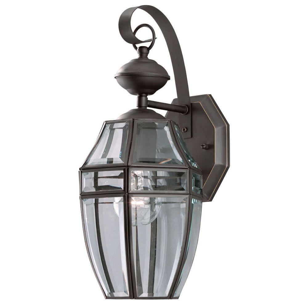 Westinghouse 1-Light Weathered Bronze on Solid Brass Steel Exterior Wall Lantern with Clear Curved Beveled Glass Panels