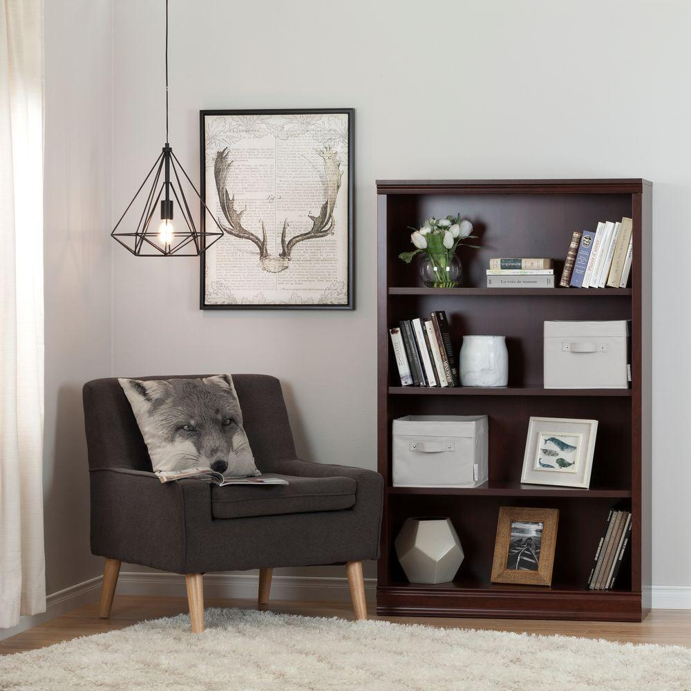 South Shore Morgan 4-Shelf Bookcase with 2 Canvas Storage Baskets in